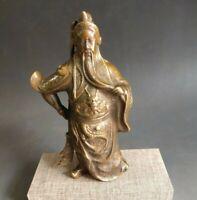 Chinese Fengshui copper Warrior Guan Gong Guan Yu Hold Sword dragon Statue Decor