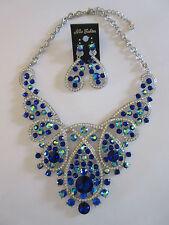 Necklace Earrings Set Brilliant Blue Tear Drop Swirls Rhinestone Collar NWT G70