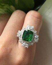 13ct (15mm)Cushion Cut Green Gemstone& Marquise CZ Studded Wedding Designer Ring