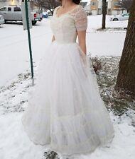 1950's Vintage Cream or Ivory Satin Tuelle Sleeve Wedding Dress