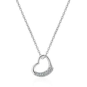 New 925 Sterling Silver AAA Zircon Heart Pendant Necklace Ladies Lovely Gift