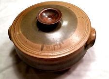 Vintage Stoneware Pottery Dutch Oven / Handmade Pottery Casserole Dish