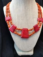 """Jay King Red and Orange Coral """"Collar"""" 17"""" Sterling Silver Necklace NWT"""