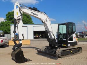 2017 Bobcat E85 Mini Excavator Rubber Tracks Cab Hyd Q/C Blade Backhoe bidadoo