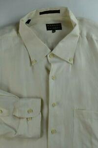 * Robert Talbott * Ivory Faint Herringbone Linen Silk Dress Shirt 21.5 x 37 4XL