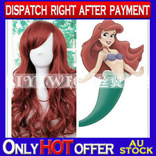 Quality Cosplay Wig Ariel from Disney's The Little Mermaid Fancy Party Wine Red