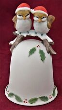 """Christmas Pair of Love Birds Bisque Porcelain Bell by ENESCO Taiwan, 4"""" Tall NOS"""