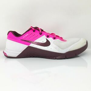 Nike Womens Metcon 2 821913-106 White Pink Running Shoes Lace up Low Top Sz 10