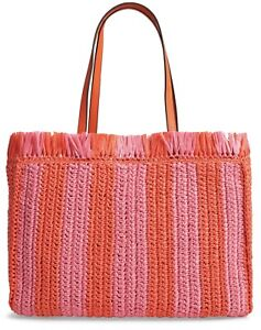 KATE SPADE Sam Handbag Tote Large Straw Bag Juicy Orange Stripe New W/out Tag