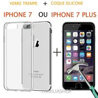 iPhone 7 iPhone 7 Plus Coque transparent gel silicone souple + 1 verre trempé