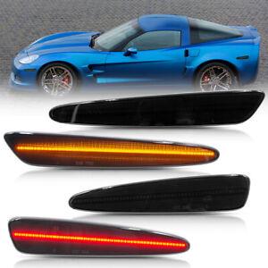 Smoked Lens LED Side Marker Light for 2005-2013 Chevy Corvette C6 Front&Back 4PC