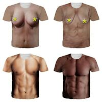 Men's Funny Rude Party Fancy Dress Chest Muscle 3D Print Offensive Boobs T Shirt