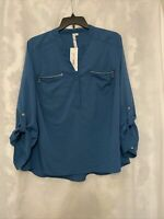 NY Collection Women's Plus Zip-Pocket Utility Shirt Teal Size 2X NWT