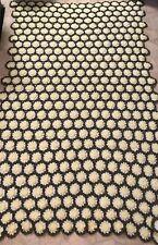 Vintage Handmade Crochet Blanket Afghan Yellow Green 3D Daisy Flowers 72 X 46