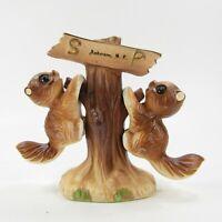 Vtg Salt Pepper Shaker Set Squirrel hanging on Tree stump Anderson SC Japan *295