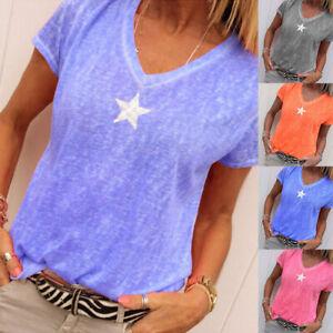 Sommer Damen T-Shirt Kurzarm Bluse V-Ausschnitt Oberteile Longbluse Tunika Tops