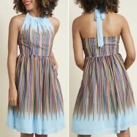 ModCloth What's The Zeal Halter Dress in Rainbow Chiffon NWOT Size M Pockets