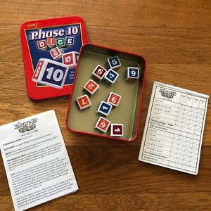 Fundex Phase 10 Dice Game In Tin - 100 percent complete Used 2004