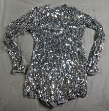 Balera Girl's Ultra Sparkle Mock Neck Mini Dance Dress AM1 Silver Size IC