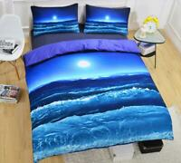 3D Blue Ocean Waves Moon KEP5384 Bed Pillowcases Quilt Duvet Cover Kay