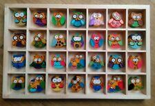 ORIGINAL MULTI  COLOURED OWLS 3D HANGING ARTWORK unusual unique gift see pics