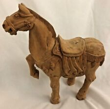 """Prancing Horse 4X11X12"""" Carved & Wood Horse Art Sculpture Figurine W/O Tail"""