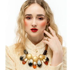 Gold Color Chain Statement Chunky Colorful Resin Big Pendant Necklace For Women