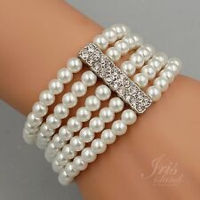 Gorgeous Alabaster White Glass pearl Multi-Strand Stretch Bracelet 0673 Crystal