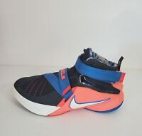 Nike LeBron Soldier 9 IX Boys Size 5.5Y Athletic Shoes 776471 Black Orange Blue