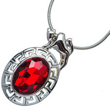 4.76 Ct Oval Cut Red Garnet 18K White Gold Plated 12 Horoscope Taurus Pendant