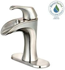 4 in. Centerset Single Handle Bathroom Faucet Brushed Nickel Elegant Spout