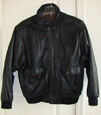Men's Roundtree & Yorke bomber aviator Coat Black Leather Sz L