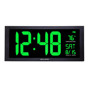 18 Inch Large LED Clock with Indoor Temperature Green Display 9 Feet Power Cord