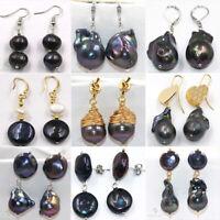 Silver Peacock Purple Black Baroque Pearl Dangle Hook Earrings Women Jewelry a