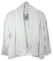 $218 Eileen Fisher Organic Cotton Knit Cardigan Medium 10 12 Oatmeal 3/4 Sleeve