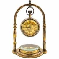 Antique Brass Desk Clock Base Compass Vintage Style Desktop Decorative