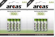 8X Micro ARCAS NI-MH AAA 1100 mAh HR03 1.2V Wiederaufladbare Batterie Akkus Accu