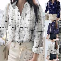 ZANZEA Womens Collared Button Down Shirt Tee Tops Geometric Print Blouse T-Shirt