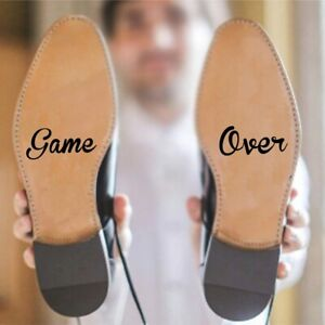 Game Over Print Shoe Outsole Sticker Groom Wedding Decal Vinyl Art Accessories