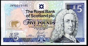 2005 The Royal Bank of Scotland plc £5 Pounds jack nicklaus money banknote UNC