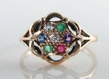CLASS 9CT 9K GOLD DEAREST CLUSTER ART DECO INS RING FREE RESIZE