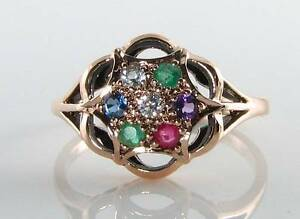 CLASS 9CT 9K ROSE GOLD DEAREST CLUSTER ART DECO INS RING FREE RESIZE