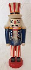 "Small Wooden Uncle Sam Nutcracker Patriotic Election America 9 5/8"" Tall"