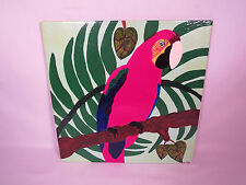 Large Handpainted Parrot Tropical Paradise Ceramic Tile Artist Signed A Talbot