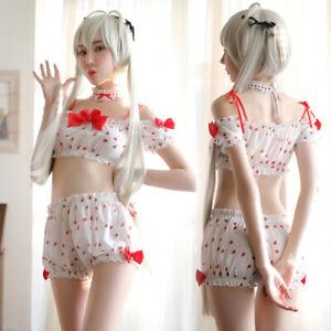 Lolita Girls Kawaii Strawberry Underwear Japanese Anime Pajamas Shorts Lingerie