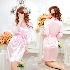 Women Sexy-Lingerie Sleepwear Satin Silk Babydoll Lace Robes Sleep Dress Skirt