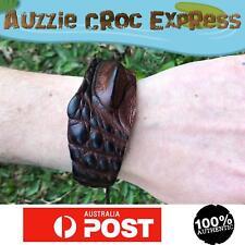 Authentic Australian Saltwater Crocodile Skin Wrist Band Wide - Brown