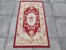 Old hand made design francese Lana Maroon Rosso ORIGINALE Aubusson 145X79cm 5x3
