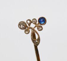 Krawattennadel Anstecknadel 585 Saphir Diamant um 1900 Handarbeit Unikat 7,1 cm