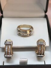 14kYellow Gold Baguette Diamond 2-Row Ring and Earrings SET